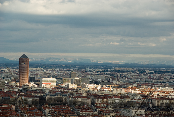 Lyon, Part-Dieu area with the Alps in the background (courtesy J.-M. Muller)